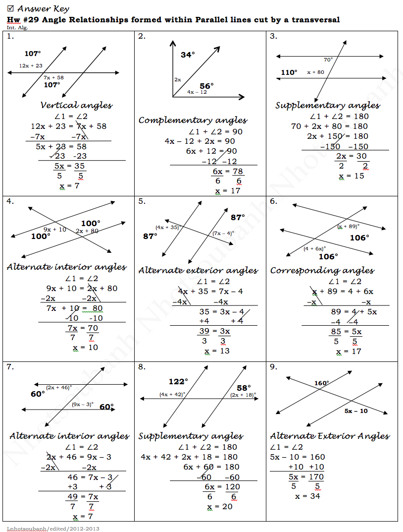 Parallel Lines And Transversals Worksheet Together With Parallel Lines ...
