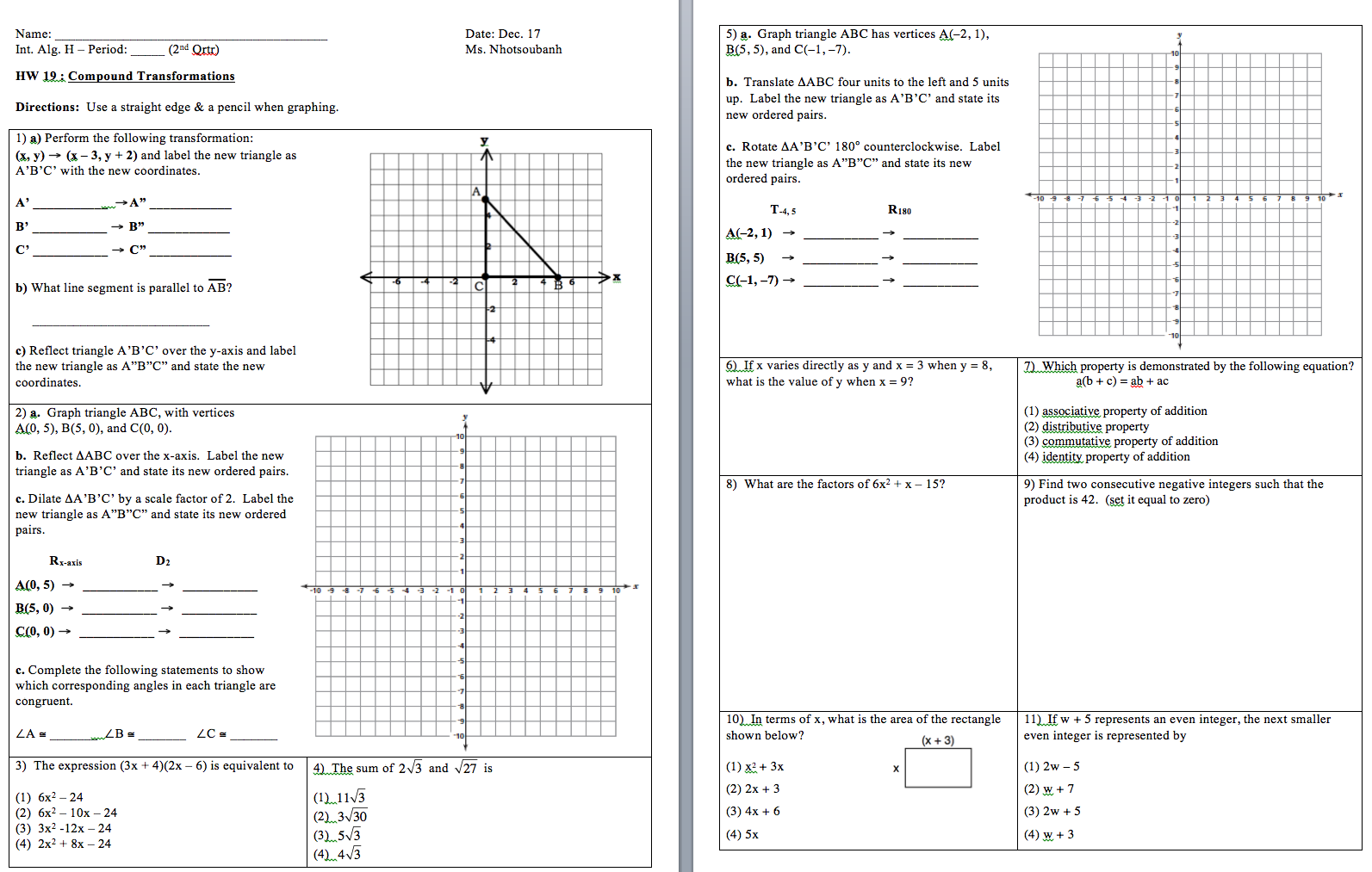 Printables Integrated Math 1 Worksheets integrated math 2 answers nokia online help india
