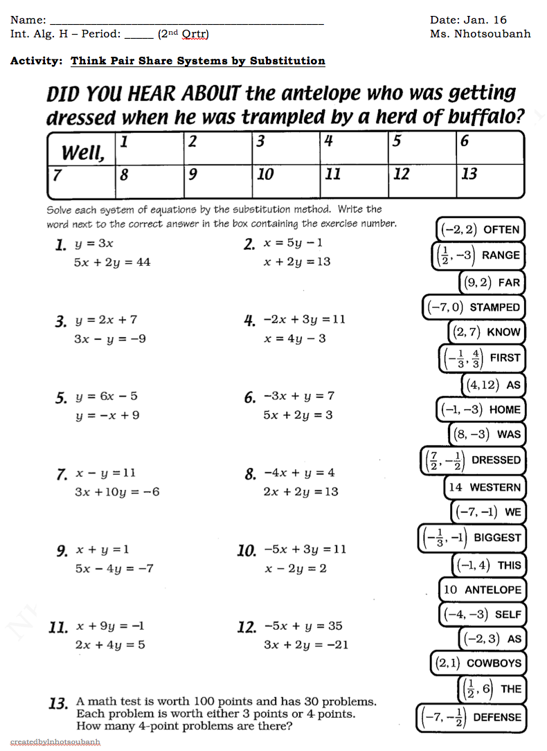 Printables Solving Systems Using Substitution Worksheet solving systems using substitution worksheet plustheapp as well system of equations worksheet